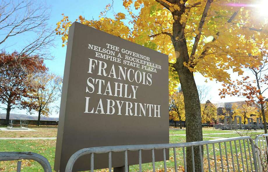 "Sign at Francois Stahly's monumental sculpture ""Labyrinth"" at the Empire State Plaza on Wednesday, Nov. 4, 2015 in Albany, N.Y. Workers were dismantling the piece of art as part of a year-long restoration effort of the 1971 installation that was part of Gov. Rockefeller's Modern Art collection. (Lori Van Buren / Times Union) Photo: Lori Van Buren / 00034079A"