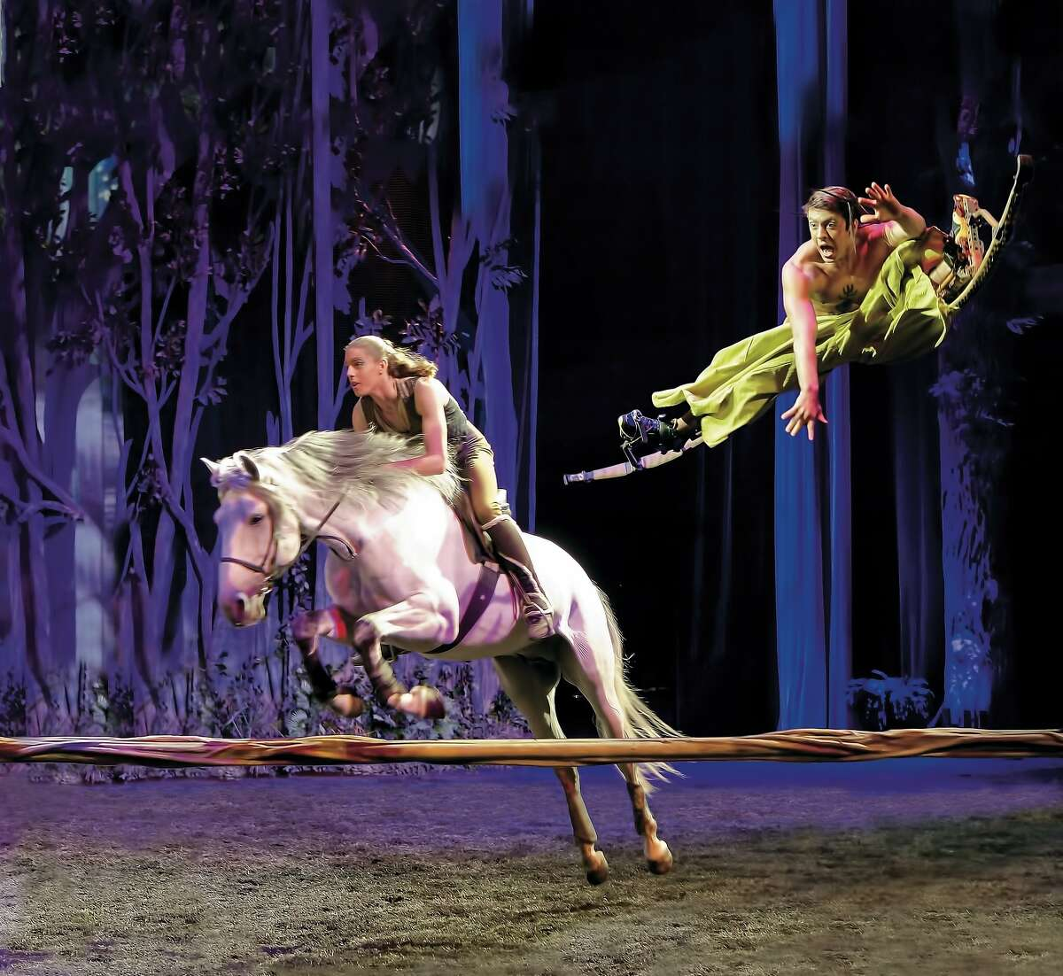 """Like """"Cavalia"""" before it, """"Odysseo"""" incorporates acrobatics with equestrian feats. The massive touring show continues through Dec. 13 under the white big top at AT&T Park. Photo courtesy of Odysseo"""