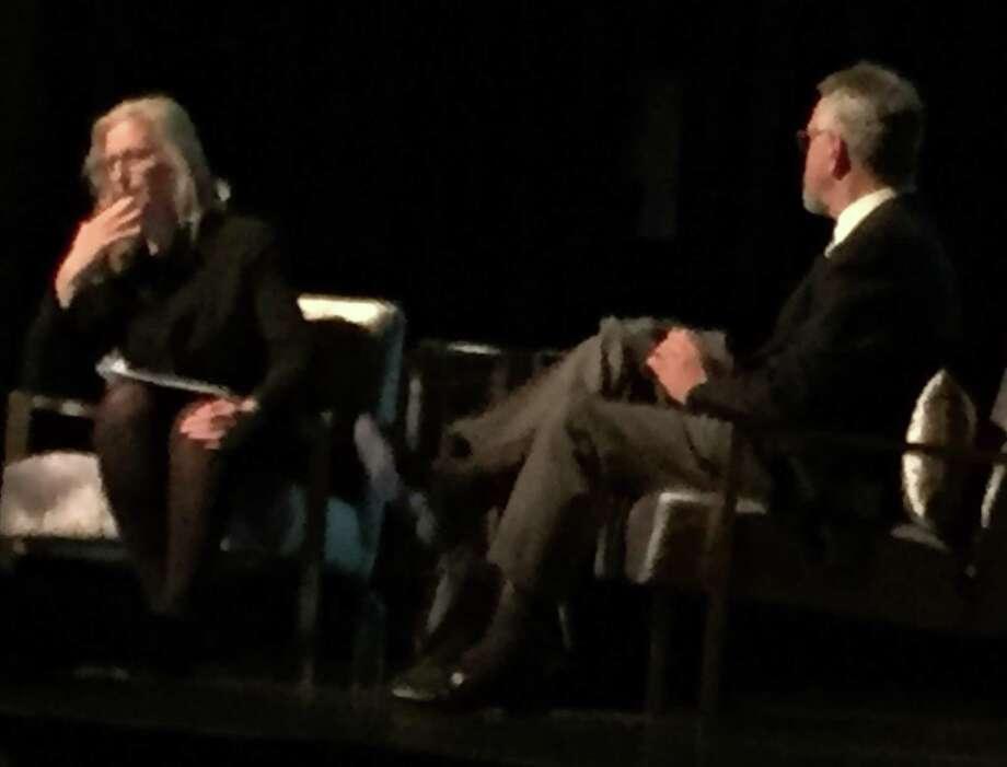 Annie Leibovitz talks with Nion McEvoy on stage at Modern Art Council dinner