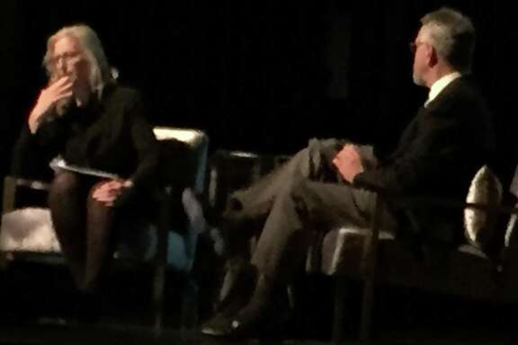 Annie Leibovitz talks with Nion McEvoy on stage at Modern Art Council dinner