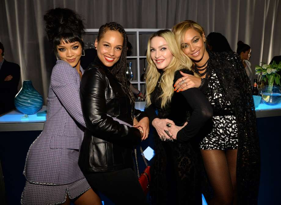 Rihanna, Alicia Keys, Madonna and Beyonce attend the Tidal launch event #TIDALforALL at Skylight at Moynihan Station on March 30, 2015 in New York City.