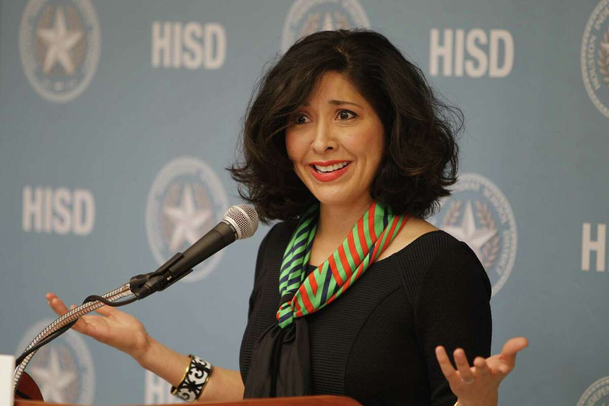 Juliet Stipeche speaks during a press conference announcing the partnership between Washington's Kennedy Center, HISD and City of Houston in national arts education program Thursday, Aug. 27, 2015, in Houston. Houston is 19th city selected to join the program. ( Steve Gonzales / Houston Chronicle )