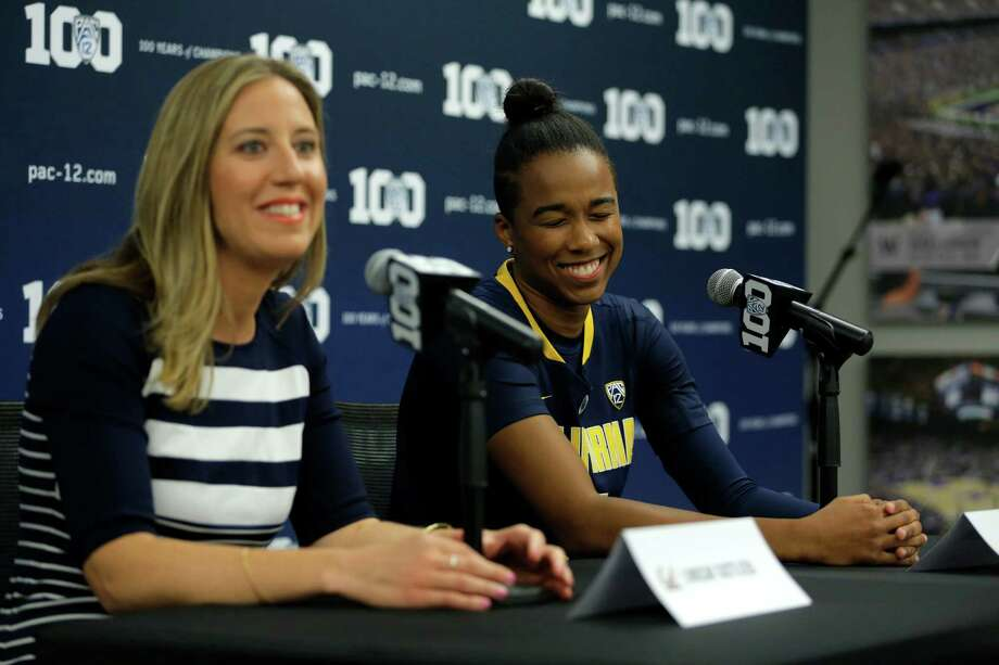 Cal Bears head coach Lindsay Gottlieb (left) and sophomore Mikayla Cowling address the media at Pac-12 women's basketball media day in San Francisco, California, on Wednesday, Oct. 14, 2015. Photo: Connor Radnovich / The Chronicle / ONLINE_YES