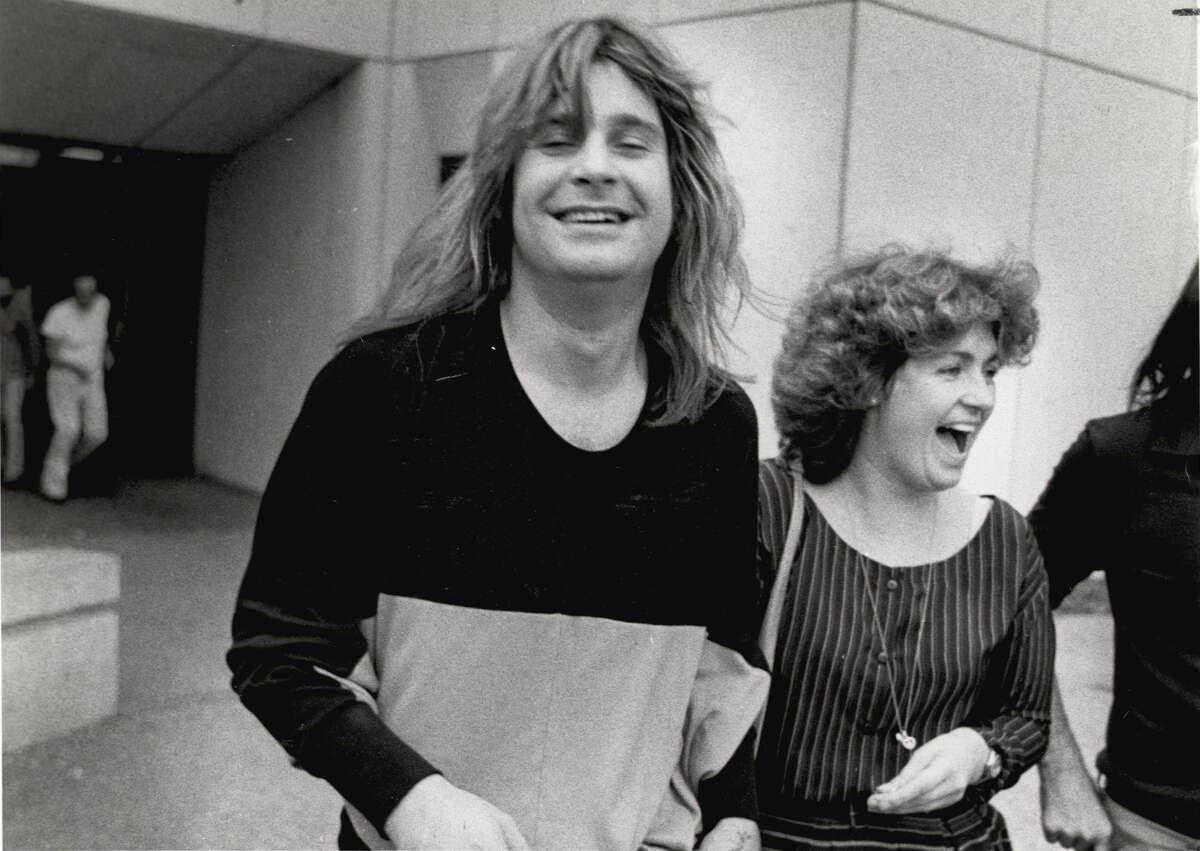 Ozzy Osbourne and his manager, Sharon Arden (now his wife), leave the Bexar County Adult Detention Center on Feb. 19, 1982, after he was arrested for urinating on the Alamo Cenotaph.