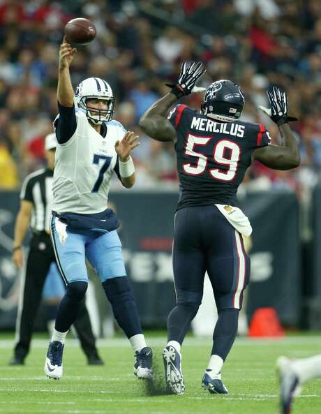 Owner Bob McNair was encouraged by the way Whitney Mercilus and the Texans' defense played in Sunday's victory over the Titans. Photo: Karen Warren, Staff / © 2015 Houston Chronicle