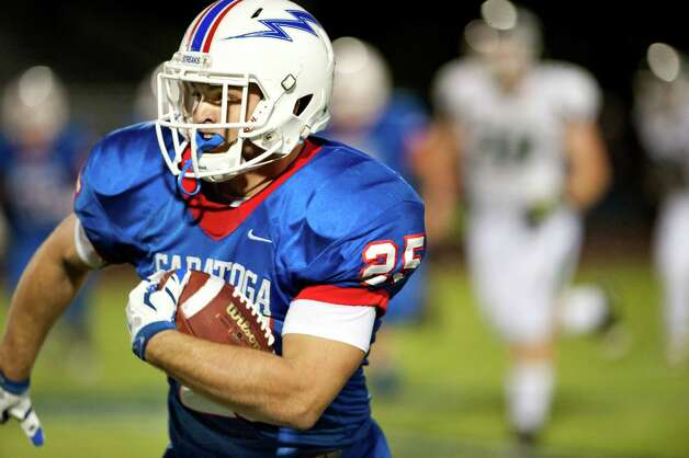 Saratoga's Dakota Harvey carries the ball during their football game against Shenendehowa on Friday, Sept. 25, 2015, at Saratoga Springs High in Saratoga Springs, N.Y. (Cindy Schultz / Times Union) Photo: Cindy Schultz / 10033490A