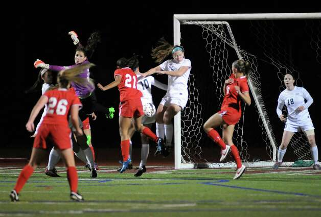 Niskayuna's threaten but does not score on this shot during their girls' soccer Section II Class AA championship game against Shenendehowa on Wednesday Nov. 4, 2015 in Stillwater, N.Y.  (Michael P. Farrell/Times Union) Photo: Michael P. Farrell / 00034069A