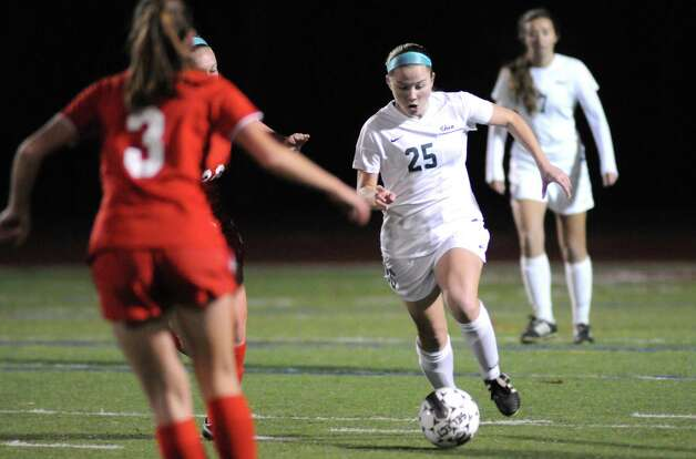 Shen's Meghan Cavanaugh brings the ball up field during their girls' soccer Section II Class AA championship game against Niskayuna on Wednesday Nov. 4, 2015 in Stillwater, N.Y.  (Michael P. Farrell/Times Union) Photo: Michael P. Farrell / 00034069A