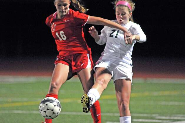 Niskayuna's Marika Contompasis and Shen's Emma Smith battle for the ball during their girls' soccer Section II Class AA championship game against Shenendehowa on Wednesday Nov. 4, 2015 in Stillwater, N.Y.  (Michael P. Farrell/Times Union) Photo: Michael P. Farrell / 00034069A