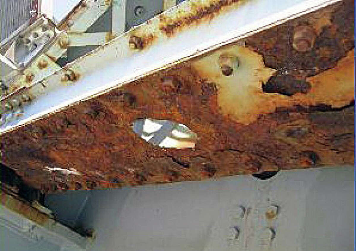 Rusting on elements of the Bridge Street bridge were photographed by state Department of Transportation officials who are studying the status of the swing span built in 1884.