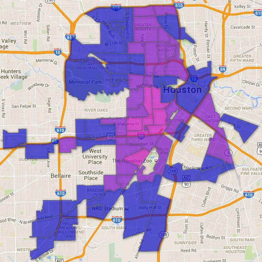Blue means the precinct approved Proposition 1 with 50 percent to 60 percent of the vote. Purple means up to 75 percent of voters in the precinct voted yes, and pink means more than 75 percent of voters in the precinct voted yes.