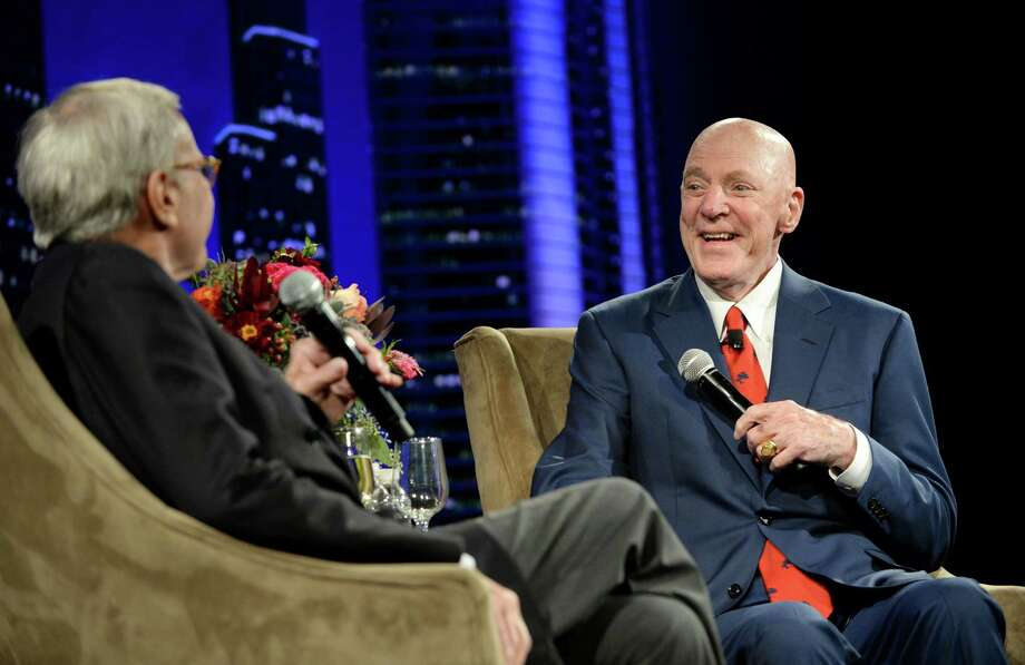 Bob McNair, right, speaks with Tom Brokaw  Photo: Jon Shapley, Houston Chronicle / © 2015  Houston Chronicle
