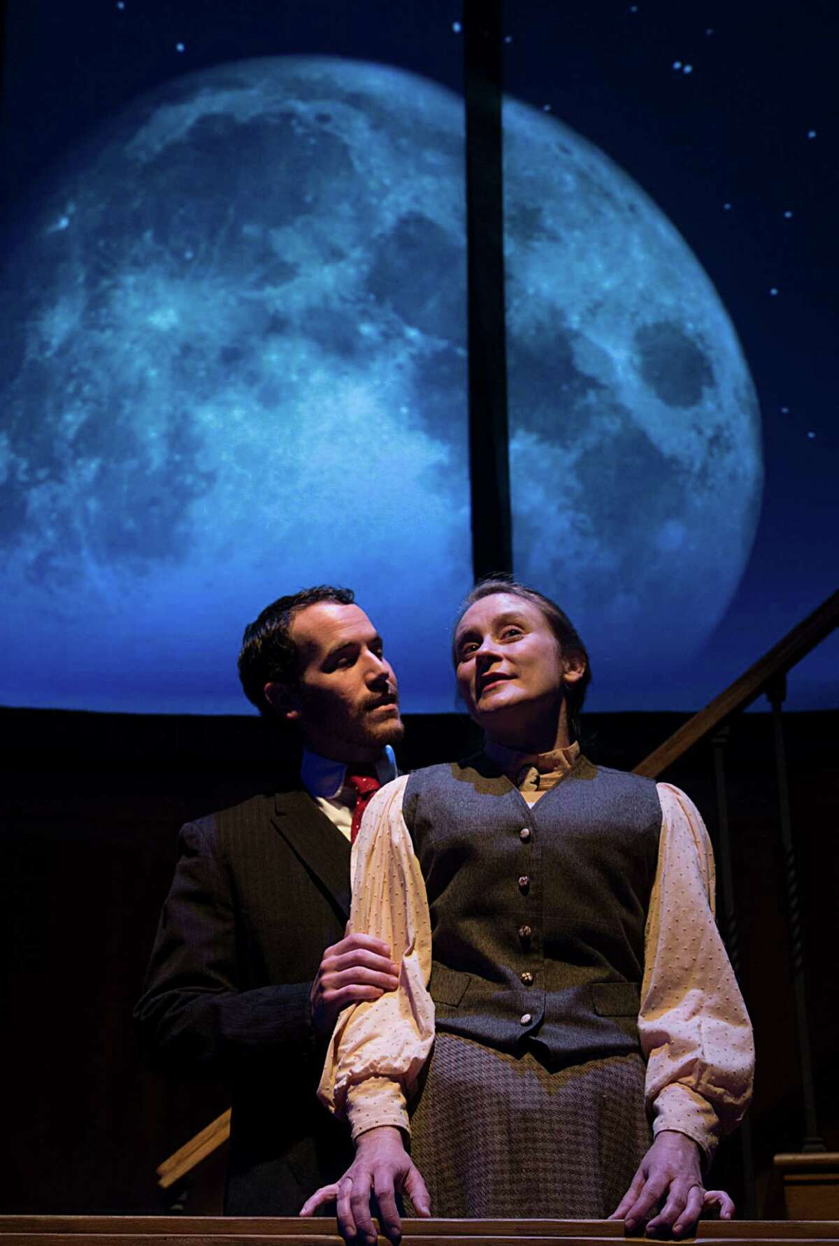 """James Monaghan left, as """"Peter Shaw"""", and Shannon Emerick right, as """"Henrietta Leavitt"""" during Main Street Theater's production of the play Silent Sky Thursday, Oct. 29, 2015, in Houston. ( James Nielsen / Houston Chronicle )"""