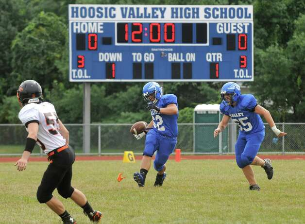 The Hoosic Valley High School football team kicksoff to begin their  game against Corinth on Saturday Sept. 12, 2015 in Schaghticoke, N.Y.  (Michael P. Farrell/Times Union) Photo: Michael P. Farrell / 00033304B