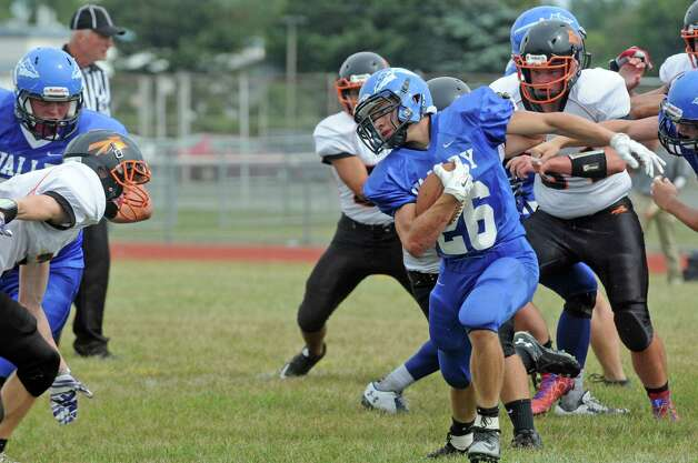 Hoosic Valley's Ryan Rifenburgh runs for a gain during their high school football game against Corinth on Saturday Sept. 12, 2015 in Schaghticoke, N.Y.  (Michael P. Farrell/Times Union) Photo: Michael P. Farrell / 00033304A