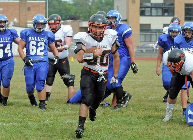 Corinth's Alex Jenkins goes in for a touchdown during their high school football game against Hoosic Valley on Saturday Sept. 12, 2015 in Schaghticoke, N.Y.  (Michael P. Farrell/Times Union) Photo: Michael P. Farrell / 00033304A