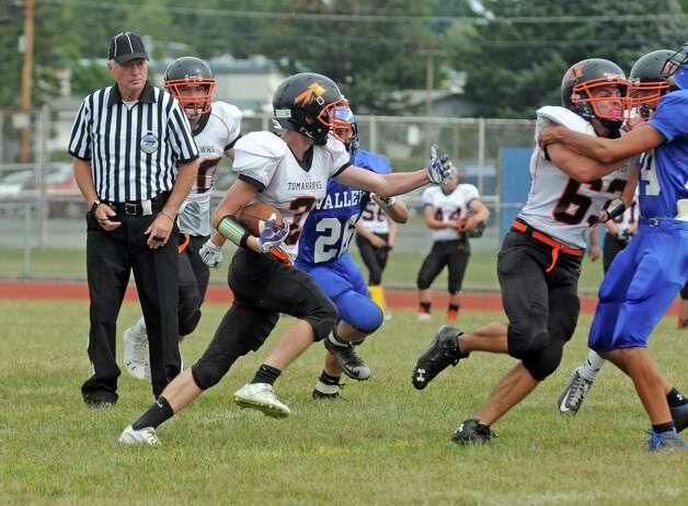 Corinth's Kory Bennet runs for a gain during their high school football game against Hoosic Valley on Saturday Sept. 12, 2015 in Schaghticoke, N.Y.  (Michael P. Farrell/Times Union) Photo: Michael P. Farrell / 00033304A