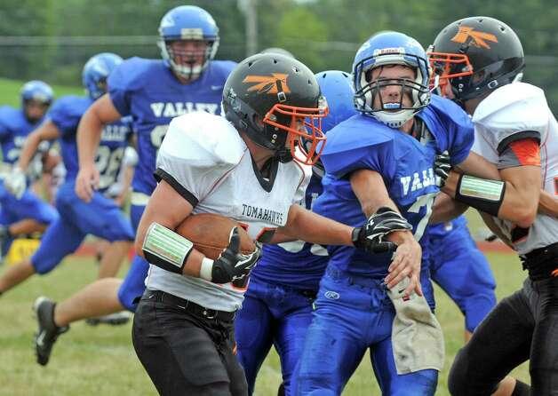 Corinth's Matt Jenson runs for a gain during their high school football game against Hoosic Valley on Saturday Sept. 12, 2015 in Schaghticoke, N.Y.  (Michael P. Farrell/Times Union) Photo: Michael P. Farrell / 00033304A