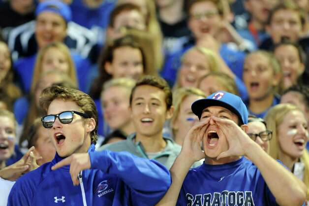 Saratoga's student section cheers for their team during their football game against Shenendehowa on Friday, Sept. 25, 2015, at Saratoga Springs High in Saratoga Springs, N.Y. (Cindy Schultz / Times Union) Photo: Cindy Schultz / 10033490A