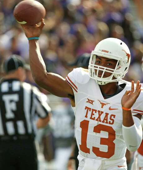 CORRECTS DATE TO OCT. 3, NOT OCT. 2 - Texas quarterback Jerrod Heard (13) throws before the Texas Longhorns take on the TCU Horned Frogs in an NCAA football game Saturday, Oct. 3, 2015, in Fort Worth, Texas. (AP Photo/Ron Jenkins) Photo: Ron Jenkins, FRE / FR171331 AP