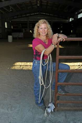 Jennifer Romriell is the rodeo coach for high school students and a former rodeo champion rider herself on Wednesday Sept. 23, 2015 in Broadalbin, N.Y.  (Michael P. Farrell/Times Union) Photo: Michael P. Farrell / 00033426A