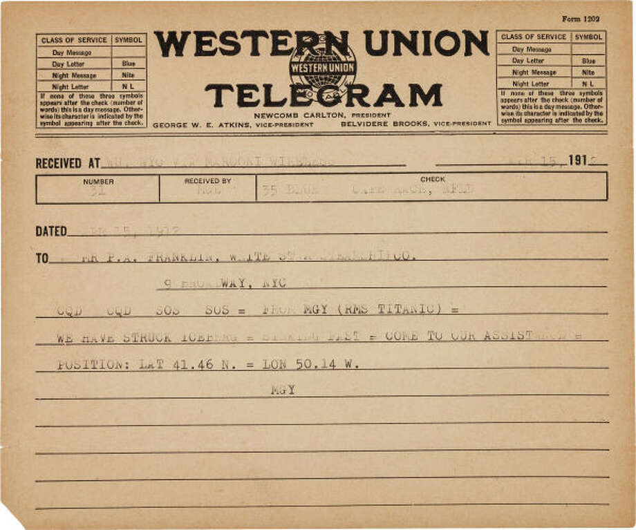 A distress telegram sent from the Titanic in its moments of peril, may disprove claims made by its navigation company that they were unaware of the impending disaster, and will be selling in a Dallas auction this Saturday.