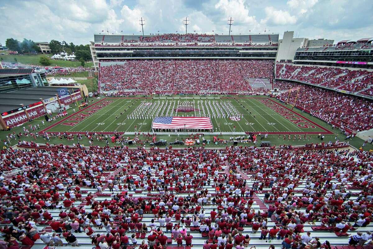 Arkansas Razorback Stadium (University of Arkansas) Capacity: 72,000