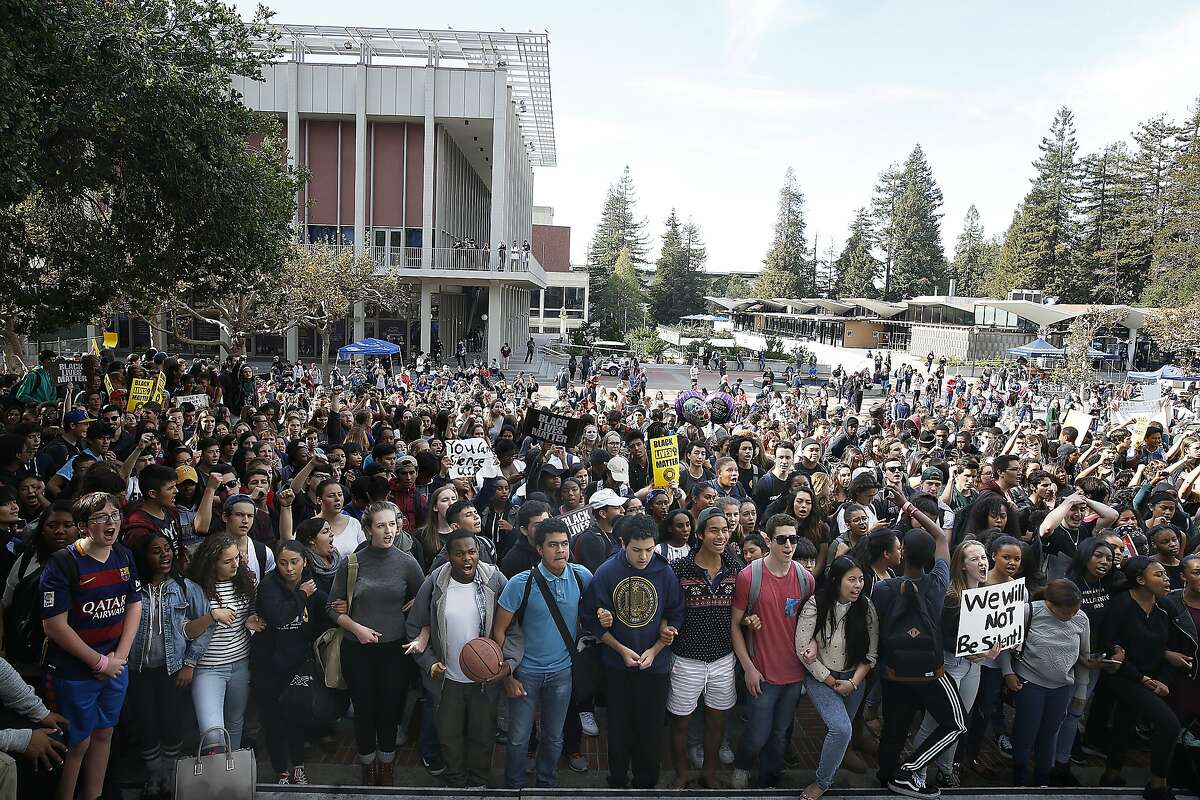 Berkeley High School students stage a walkout demonstration in front of Sproul Hall over a racist post on the school website in Berkeley, Calif., on Thursday, November 5, 2015.