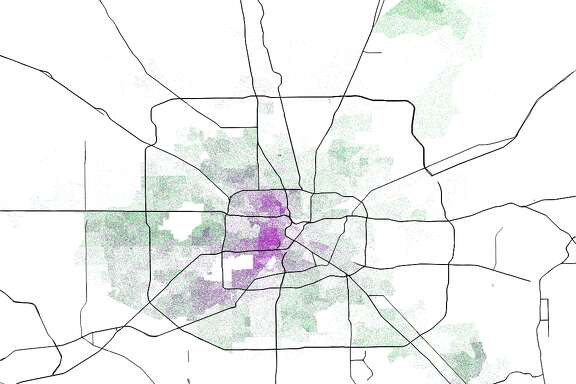This dot-density map shows where Proposition had the highest support and opposition.