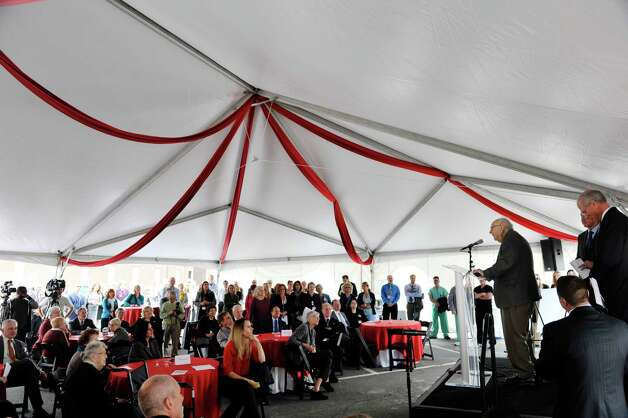 Heinrich Medicus addresses those gathered for a ground breaking ceremony for the  St. PeterOs Health Partners Heinrich Medicus Pavilion on the Samaritan Hospital campus on Thursday, Nov. 5, 2015, in Troy, N.Y.  The pavilion is the centerpiece of SPHPOs $99 million Troy Master Facilities Plan.  Medicus donated $10 million to the project.  (Paul Buckowski / Times Union) Photo: PAUL BUCKOWSKI / 00034089A