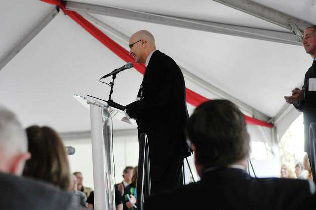 Doctor Robert Benton, Capital Cardiology Associates, and Transforming Health Care in Troy Campaign Co-Chair, addresses those gathered at a ground breaking ceremony for the St. PeterOs Health Partners Heinrich Medicus Pavilion on the Samaritan Hospital campus on Thursday, Nov. 5, 2015, in Troy, N.Y.  The pavilion is the centerpiece of SPHPOs $99 million Troy Master Facilities Plan.  (Paul Buckowski / Times Union) Photo: PAUL BUCKOWSKI / 00034089A