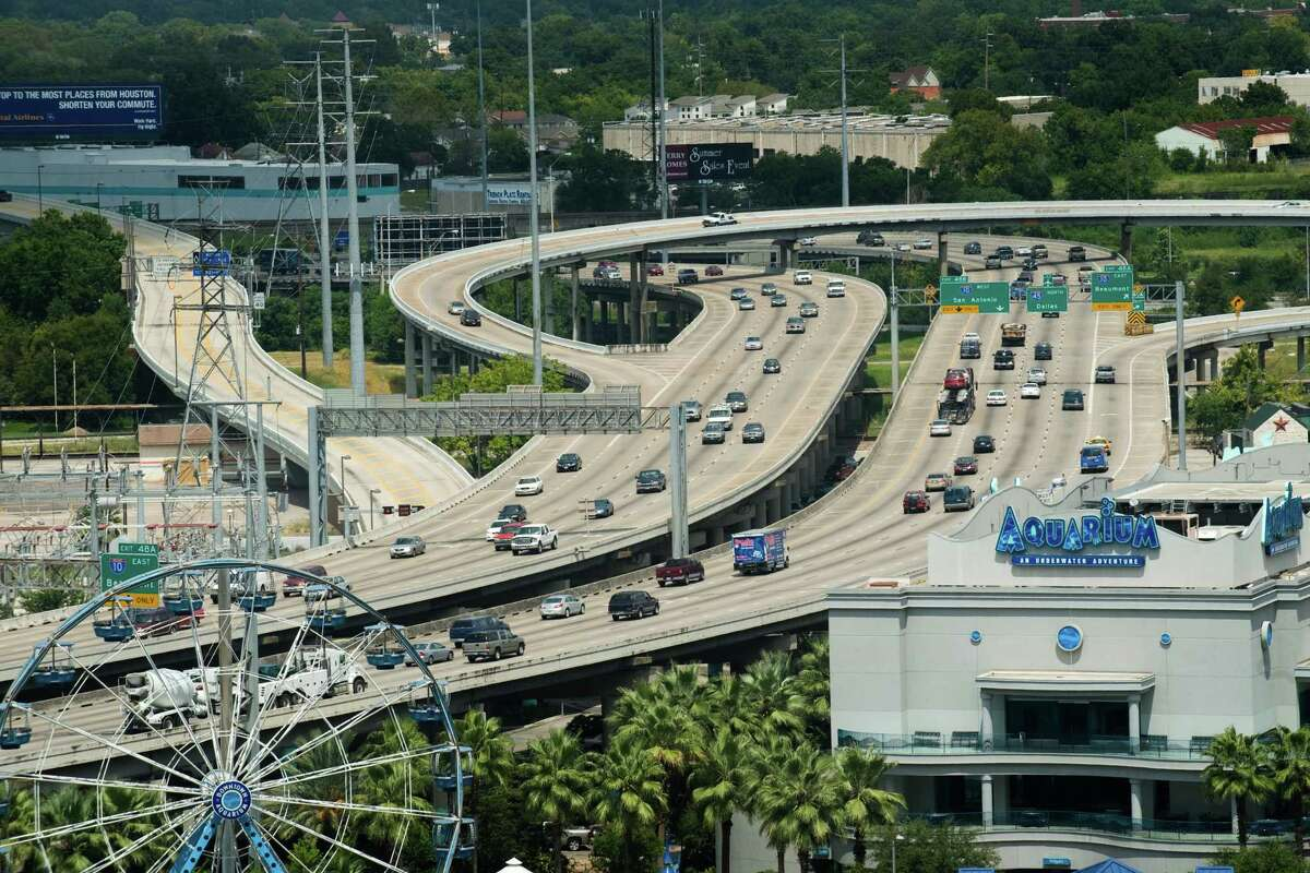 Traffic travels on IH-45 past the Downtown Aquarium as seen from the roof of City Hall, Tuesday, Sept. 9, 2008, in Houston. ( Smiley N. Pool / Chronicle )