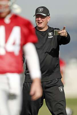 Oakland Raiders' Offensive Coordinator Bill Musgrave during practice in Alameda, Calif., on Thursday, November 5, 2015.