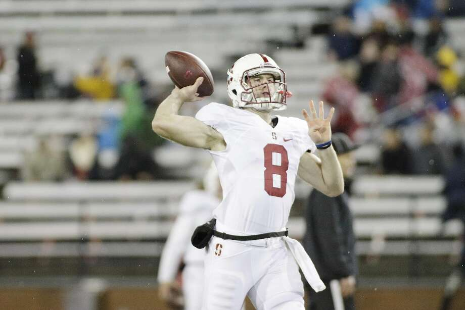 Stanford quarterback Kevin Hogan (8) warms up before an NCAA college football game against Washington State, Saturday, Oct. 31, 2015, in Pullman, Wash. (AP Photo/Young Kwak) Photo: Young Kwak, Associated Press