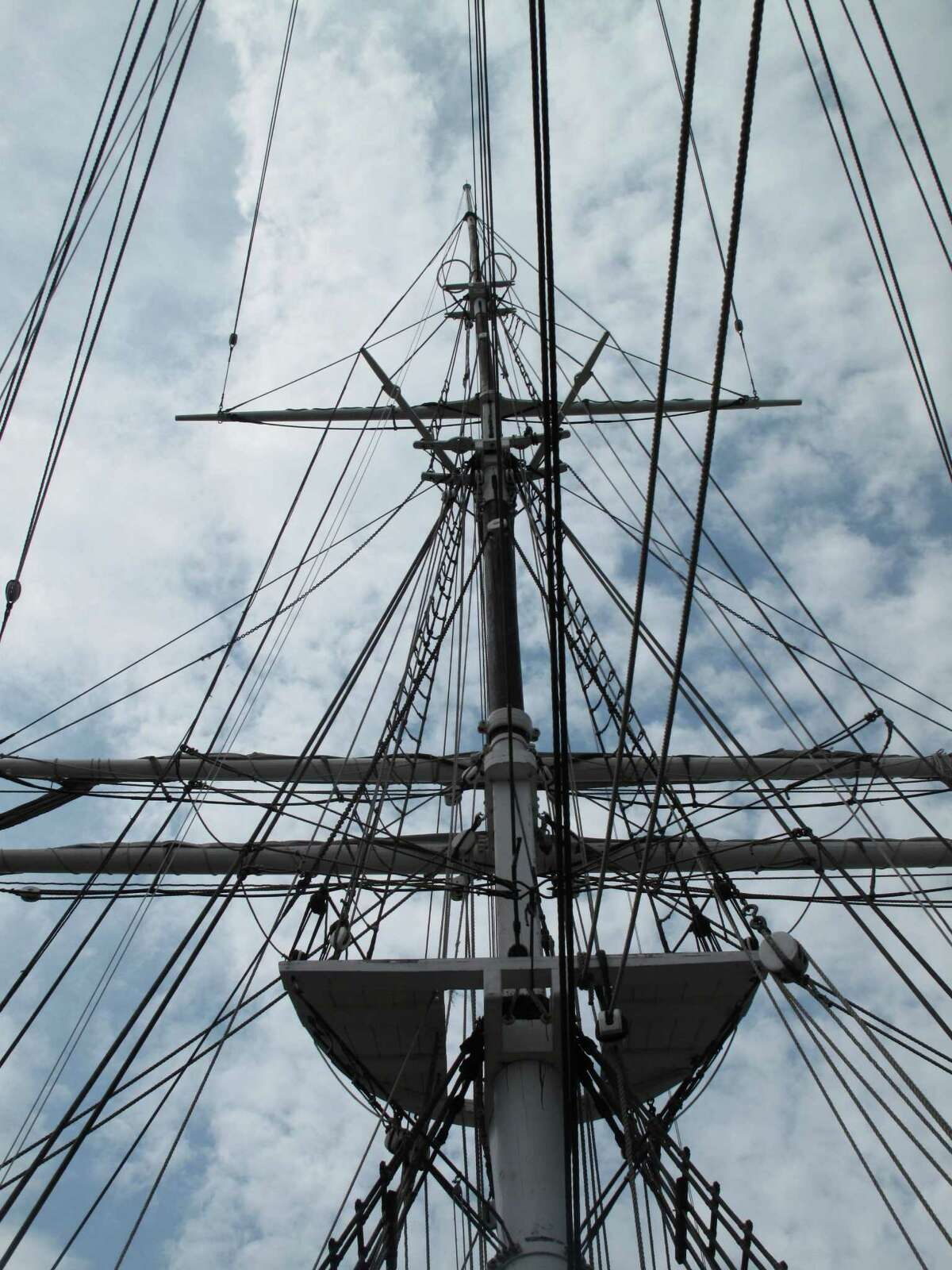 The rigging of a schooner at Mystic Seaport Museum in Connecticut.