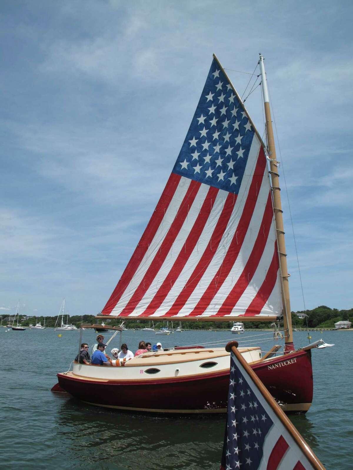 A patriotic sailor in Nantucket.