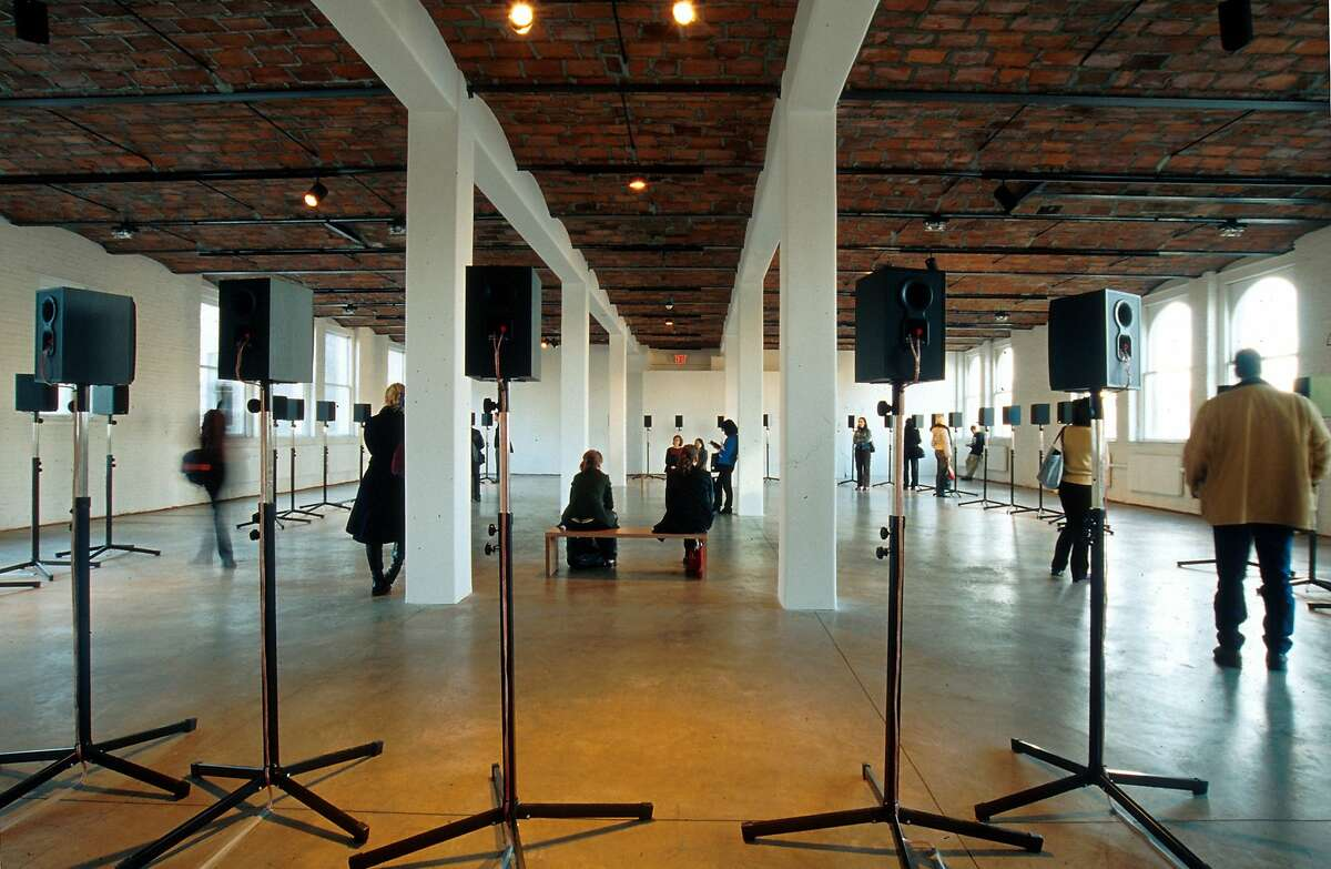 """Canadian sound artist Janet Cardiff?•s """"The Forty-Part Motet"""" installed at MOMA PS1, 2001. Credit: Courtesy of Janet Cardiff and MoMA PS1"""