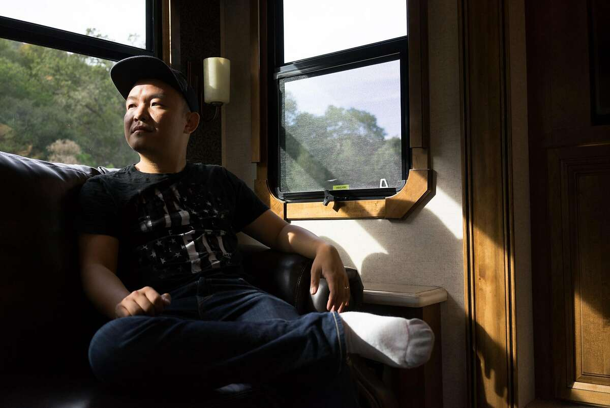 Bignoggins founder Jerry Shen poses for a photo in Morgan Hill, Calif. on Thursday, Nov. 5, 2015. Shen's company was acquired by Yahoo. Now he plans to travel the country with his wife in his mobile home.