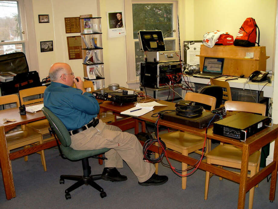Jon Perelstein of Stamford operates a ham radio at the American Red Cross. Perelstein, 66, has been a ham enthusiast since he was 15. Photo: Jon Perelstein / Contributed Photo