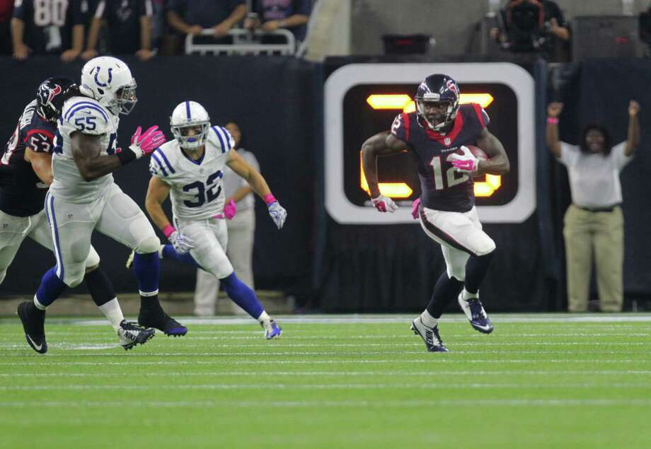 Rookie Keith Mumphery (12) has played a factor in the Texans' turnaround on special teams. He is averaging 25.1 yards on kickoff returns and 8.3 yards on punt returns. Photo: Jon Shapley, Staff / © 2015 Houston Chronicle