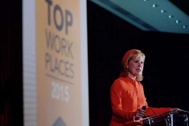 Ginger Hardage, former senior vice president of culture and communication at Southwest Airlines, speaks at the Houston Chronicle's annual Top Workplaces event last November.