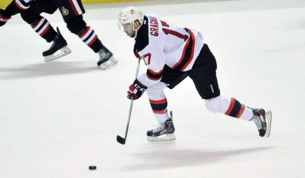 Marc-Andre Gragnani of the Albany Devils brings the puck up the ice during their game against the Binghamton Senators at the Times Union Center on Sunday, Oct. 25, 2015, in Albany, N.Y.  (Paul Buckowski / Times Union) ORG XMIT: MER2015102517222406 Photo: PAUL BUCKOWSKI / 10033891B