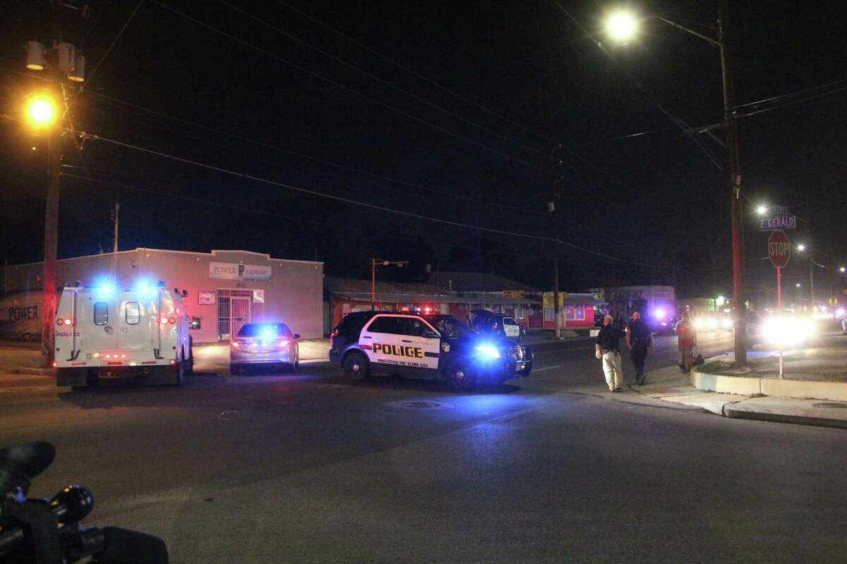 Police investigate the street where a man was hit at about 8:30 p.m. Thursday on South Flores Street at Huff Street. The man was taken to University Hospital initially in critical condition.
