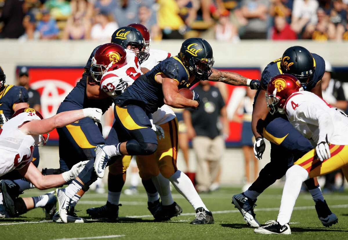 Daniel Lasco #2 of the California Golden Bears runs in for a touchdown against the USC Trojans at California Memorial Stadium on October 31, 2015 in Berkeley, California.
