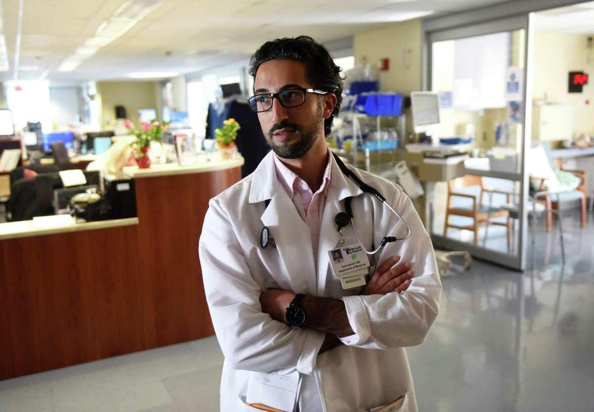 Dr. Sohi Ashraf, of Norwalk, in the Intensive Care Unit at Norwalk Hospital in Norwalk, Conn.