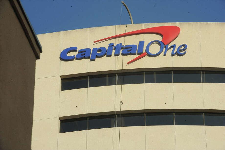 The Capital One logo was placed on the Edison Plaza Wednesday.  Photo taken Thursday, November 5, 2015  Guiseppe Barranco/The Enterprise Photo: Guiseppe Barranco, Photo Editor / B