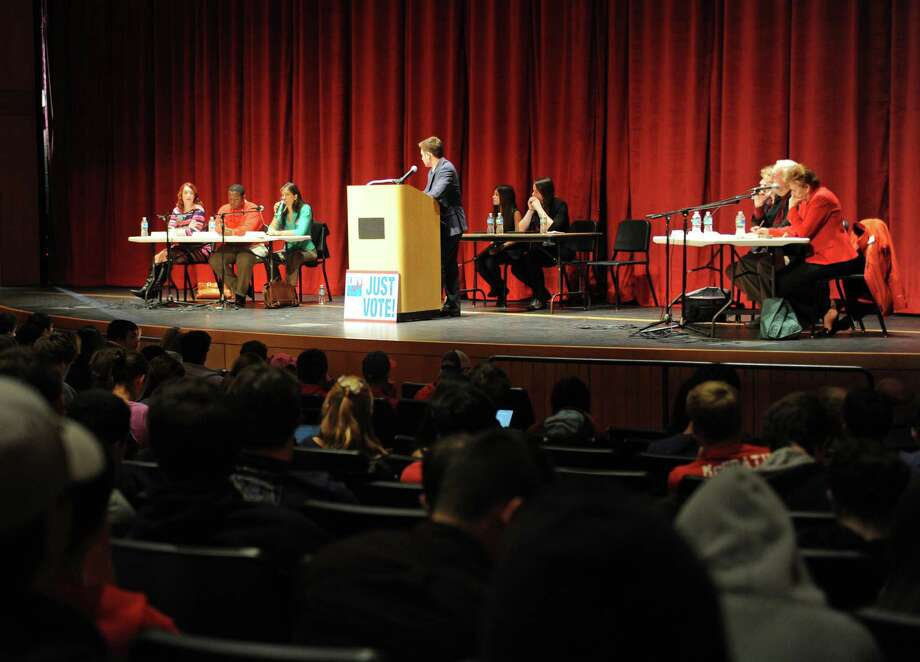 Greenwich High School's new auditorium has already hosted a number of events during its first month, including a Board of Education candidates forum on Oct. 28. Photo: Tyler Sizemore / Hearst Connecticut Media / Greenwich Time