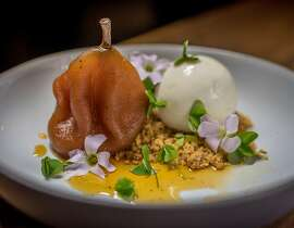 The Honey Poached Pear with Jerusalem Ice Cream at Oro in San Francisco, Calif. is seen on Thursday, November 5th, 2015.