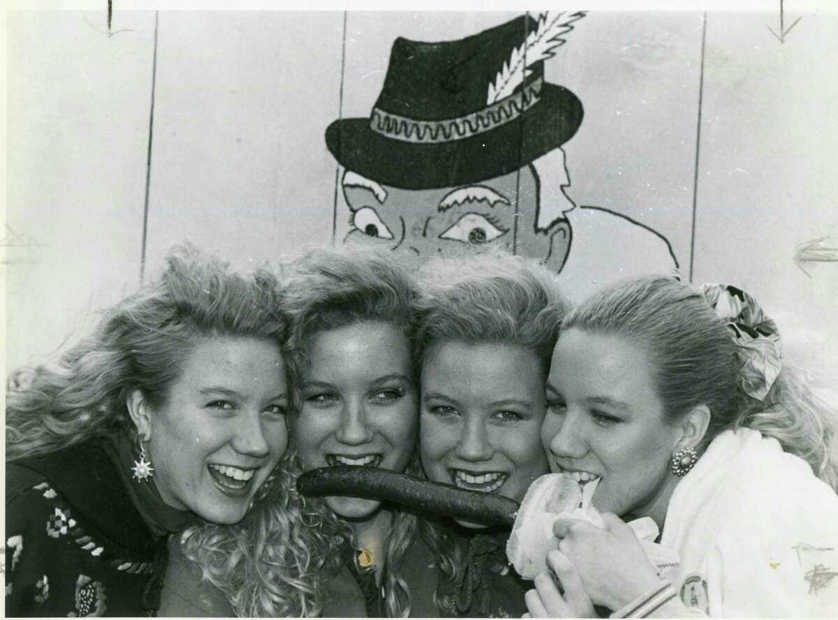 The Hansen Quad - Alison, Brooke, Claire and Darcy - came to Wurstfest 1992 with their German teacher.
