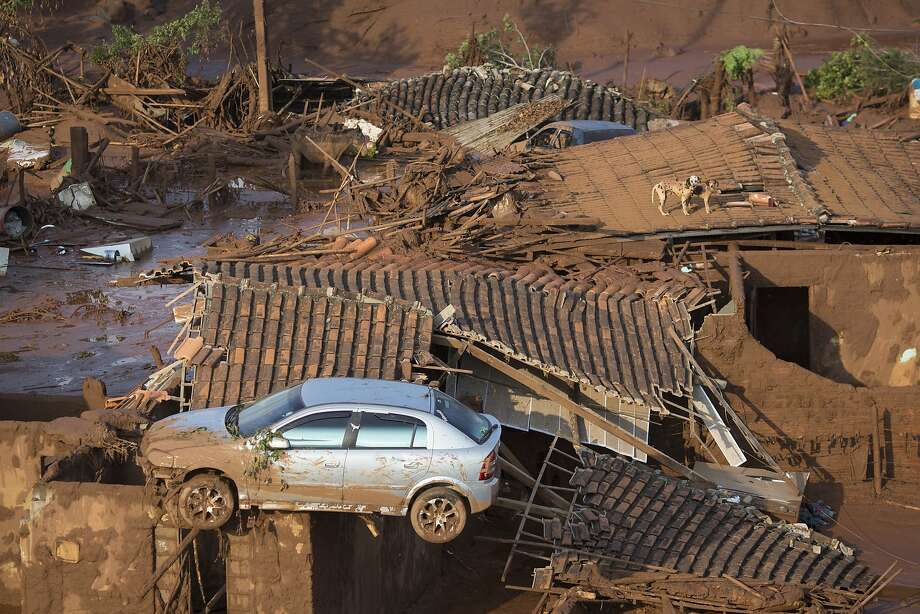 A car and two dogs are seen on the roof of destroyed homes after two dams burst in Minas Gerais state. Rescuers are searching for possible survivors. Photo: Felipe Dana, Associated Press